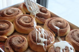 Delicious cinnamon rolls with icing